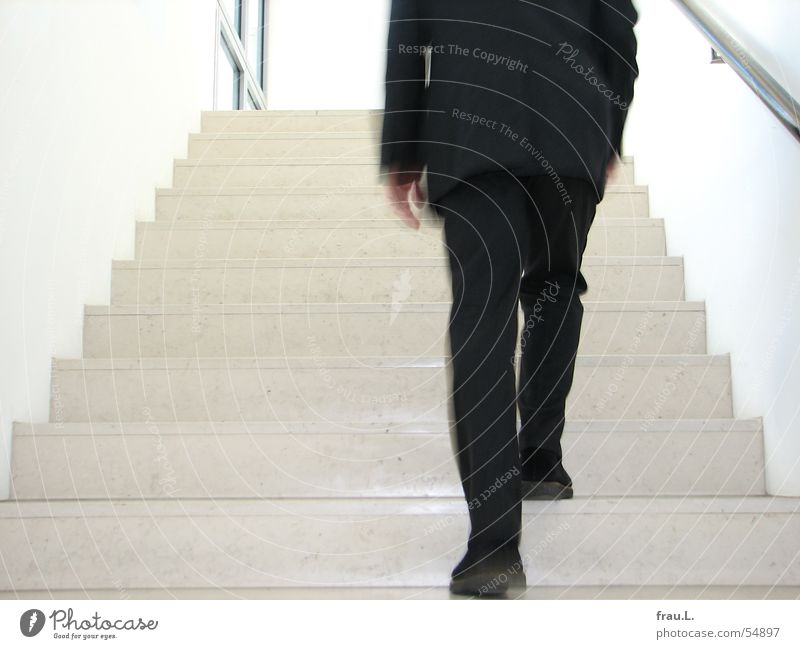 Man Work and employment Wall (building) Window Movement Gray Footwear Legs Business Arm Going Stairs Suit Human being Banister