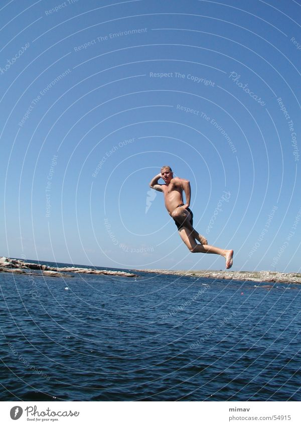 airfoil Ocean Jump Man Bornholm Swimming pool Swimming trunks Water Body Blue Sky