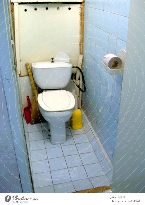 russian water closet Blue Loneliness Calm Far-off places Cold Interior design Style Line Open Authentic Simple Culture Clean Eyeglasses Retro Bathroom