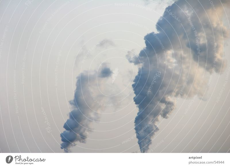 air congestion Smoke Environmental pollution Exhaust gas Air Clouds Industrial Photography Sky Chimney column of smoke 2 Side by side Go up Climate change