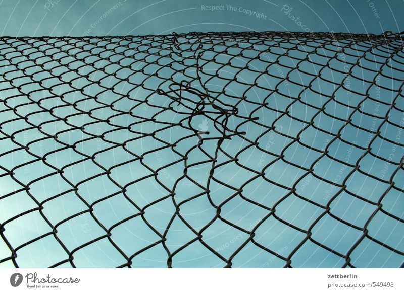 Wire mesh fence again Wire netting fence Fence Wire fence Neighbor Border Divide Division Department Repair kit Repaired Crack & Rip & Tear Sky Sky blue