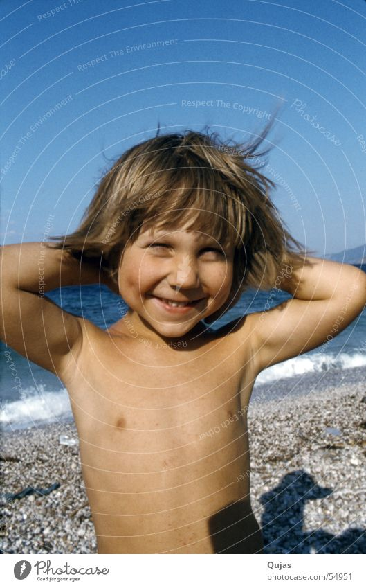 Child Beach Vacation & Travel Boy (child) Happy Contentment Happiness Grinning Impish