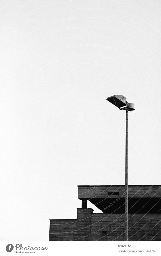 Too bad concrete doesn't burn! School building Roof Concrete Living or residing Nature abhors a vacuum Floodlight Black & white photo