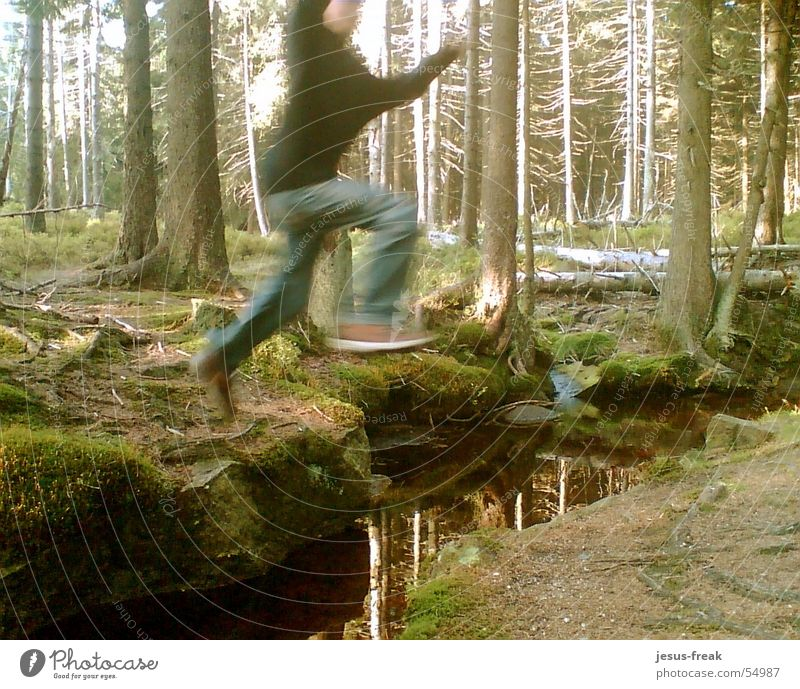 JumP_HigH Jump Forest Brook in midair in the air Air high Flying fly left over