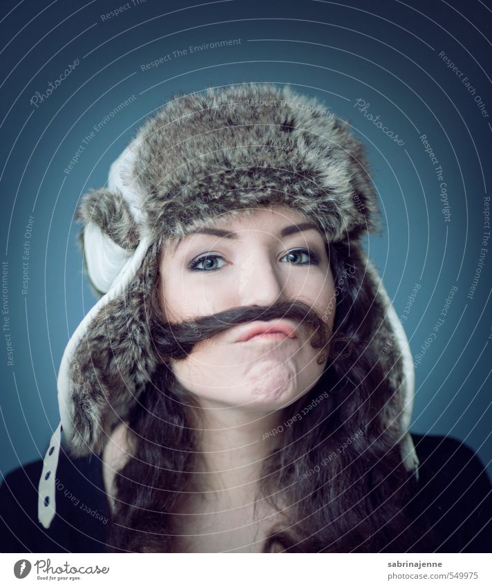Human being Woman Youth (Young adults) Young woman Joy 18 - 30 years Adults Feminine Funny Mouth Facial hair Cap Curl Brunette Long-haired Accessory