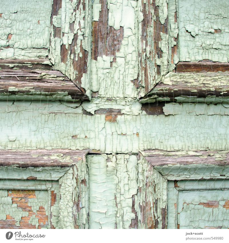 ALT + PLUS door wood Sharp-edged Simple Near turquoise Decline Past Destruction Varnish Layer of paint Flake off Crucifix Old Ravages of time Weathered