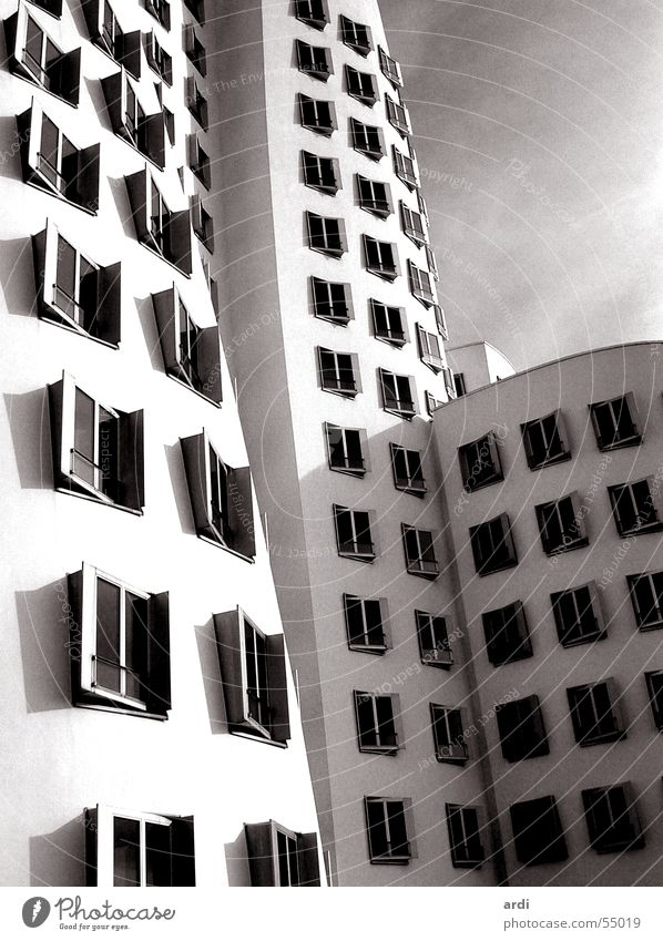 House (Residential Structure) Window Building Waves Art Duesseldorf Strange Warped Zollhof Gehry buildings