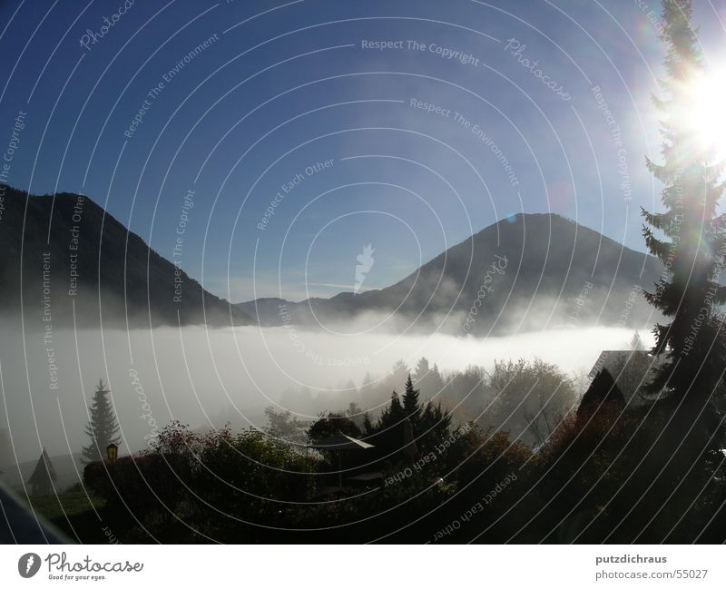Beautiful Sun Calm Clouds Loneliness Mountain Landscape Bright Moody Fog Vantage point Peace Natural Peak