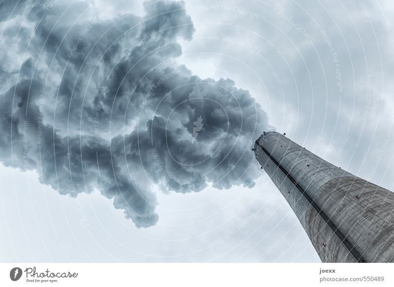 Sky Blue Clouds Dark Environment Gray Air Gloomy Climate Large Future Threat Fat Chimney Exhaust gas Environmental pollution