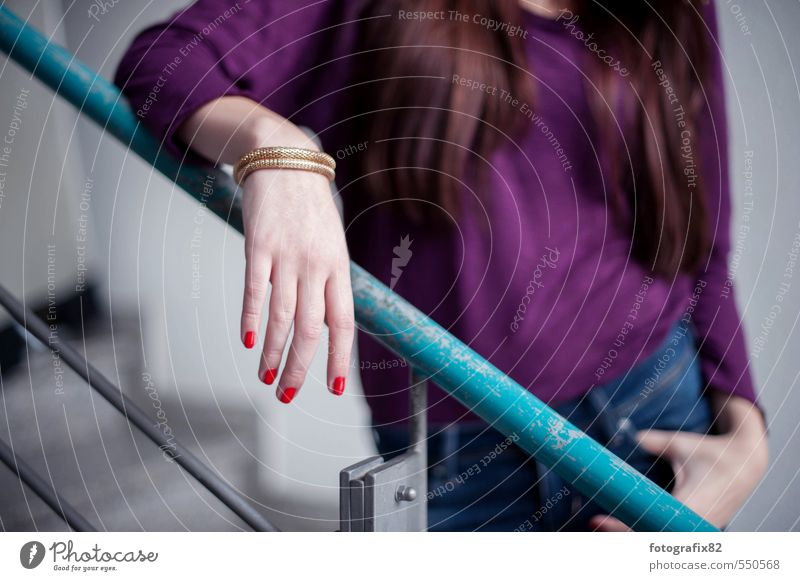 you look at me. Red-haired Long-haired Stand Wait Esthetic Brash Gray Violet Turquoise Staircase (Hallway) Bangle Nail polish Upper body Colour photo