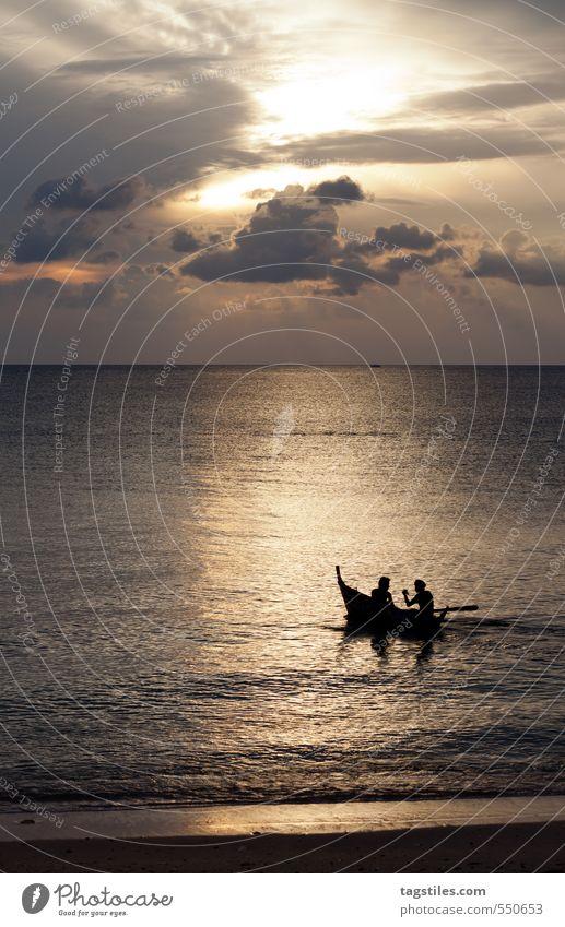 ENTERTAINMENT To talk Human being Man Fisherman Thailand Krabi Andaman Sea Fishing boat Rowboat Sunset Ko Lanta Asia Indian Ocean Vacation & Travel