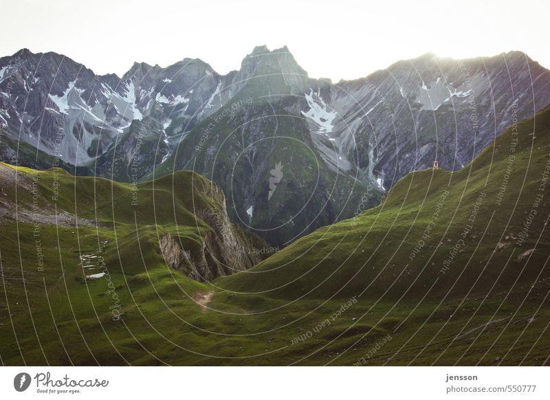 ALPENGLÜHEN Environment Nature Landscape Summer Weather Beautiful weather Meadow Rock Alps Mountain Peak Illuminate Gigantic Bright Positive Moody Freedom