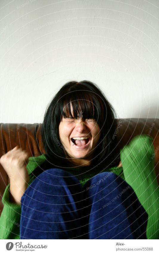 cry Scream Woman Beautiful Sweet Black Leather Sofa Sweater Joy henrika Hair and hairstyles Laughter