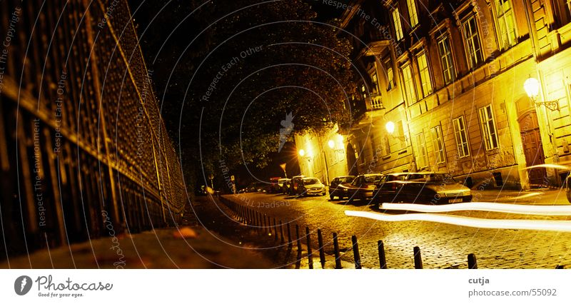 speed of light Night Calm Glittering Fence Street Floodlight Car Movement