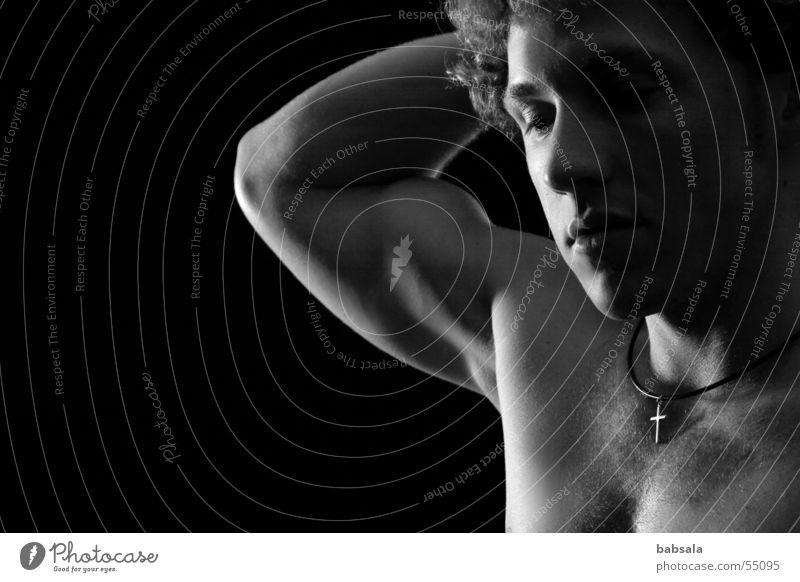 silence Man Grief Calm Studio shot portait Nude photography Musculature Dark background