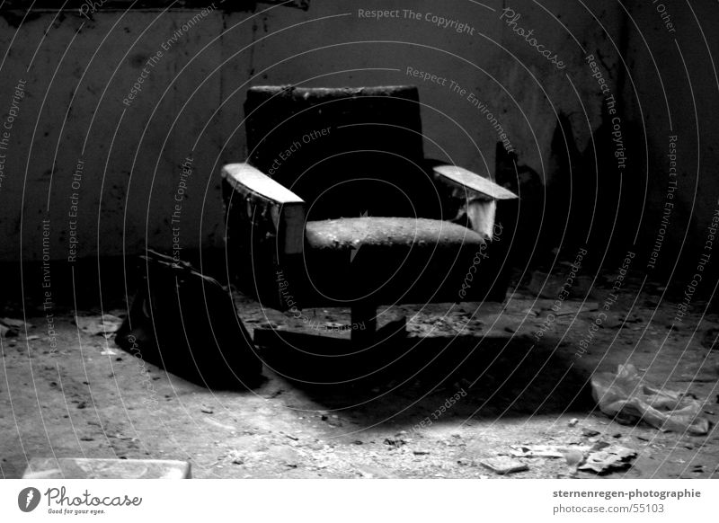 black Armchair Vacation & Travel Transience Time Decline Dark Destruction Devastated File case Black & white photo