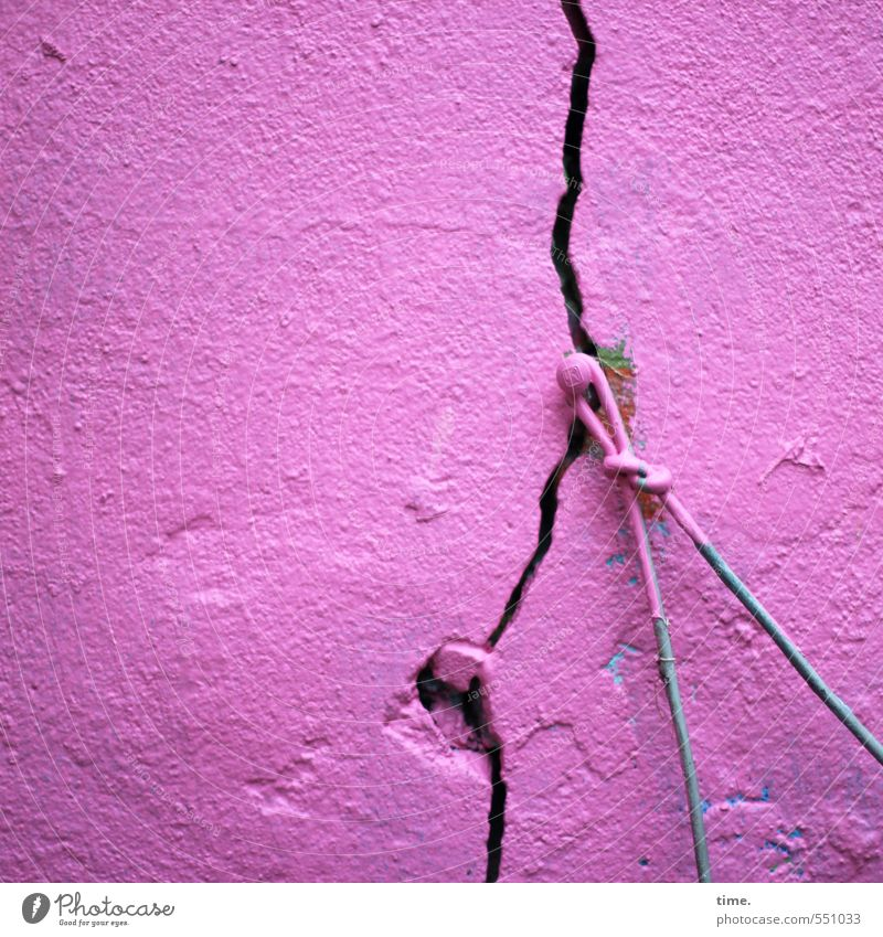 weight category Wall (barrier) Wall (building) Facade Plaster Crack & Rip & Tear Nail Wire Clothesline Varnish Varnished Broken Crazy Trashy Pink Aggravation