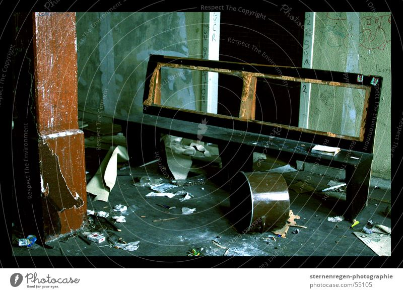 Time Bench Transience Decline Destruction Cross processing Devastated Church pew