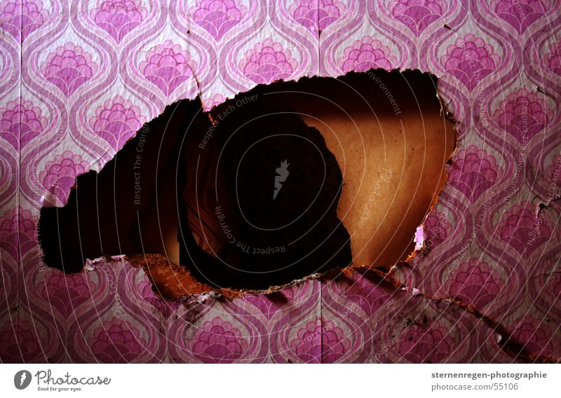 Pink Time Retro Transience Wallpaper Decline Hollow Cardboard Crack & Rip & Tear Destruction The fifties Paper Devastated