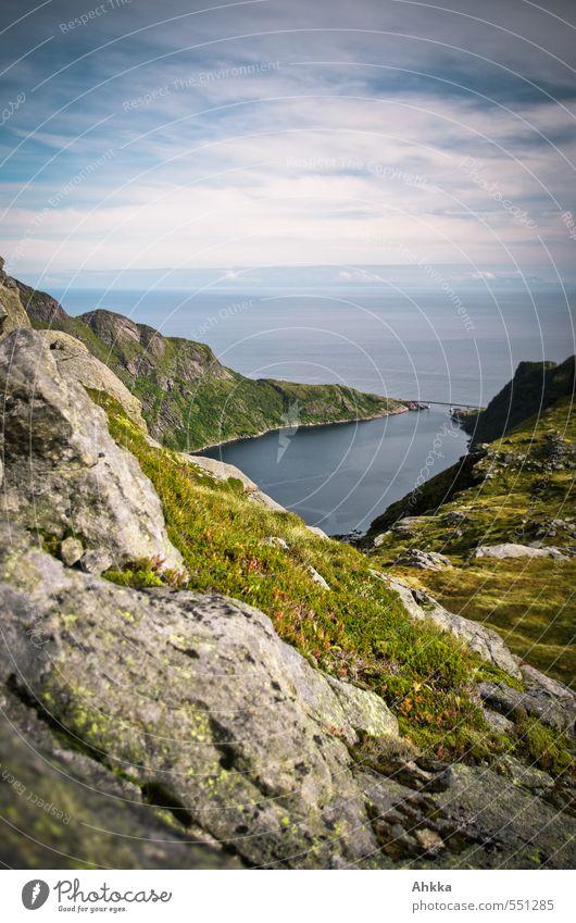 Lofoten XXII Senses Calm Vacation & Travel Trip Adventure Far-off places Freedom Mountain Hiking Nature Landscape Moss Rock Coast Bay Fjord Ocean Street