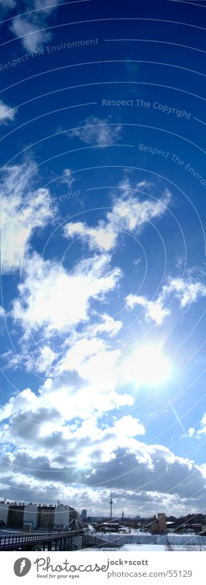 Blue White Summer Sun Clouds House (Residential Structure) Cold Happy Above Moody Horizon Air Illuminate Large Climate Beautiful weather