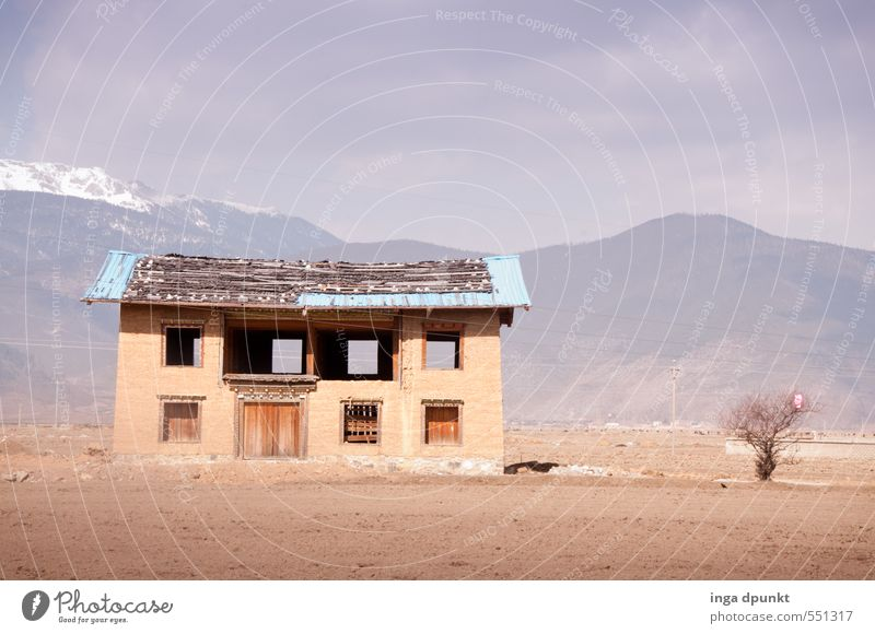 Empty house Environment Nature Landscape Sky Mountain Yunnan China Asia Loneliness Adventure Vacation & Travel House (Residential Structure) Vacancy Tree