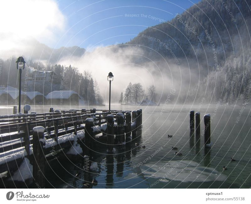 Königssee Lake Fog Footbridge Bavaria Lake Königssee Cold Morning Fresh Romance Exterior shot Water Ice Snow Mountain Alps Digital photography Day