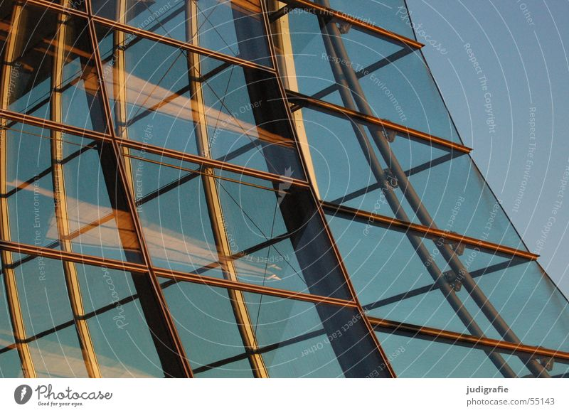 Glass facade of the Expo pavilion German Pavilion House (Residential Structure) Building Window Reflection Evening sun Construction Hannover Light Modern