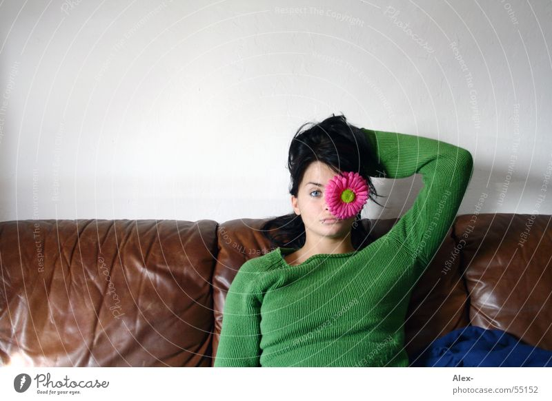 Auf´s Eye Woman Beautiful Leather Sofa Armchair Brown Green Flower Blossom Pink Living room Without makeup Sit Plant Eyes Relaxation wait Funny Joy Romance