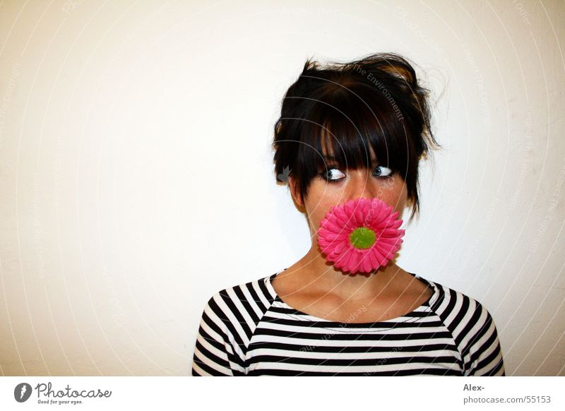 I eat flowers Woman Sweet Cute Flower Vegetarian diet Stripe Blossom Face Plant Nutrition Appetite Romance