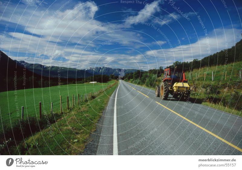 agriculture Tractor Agriculture Field Meadow Green Norway Lofotes Center line Clouds Fence Stripe Old Farmer Blue sky Mountain Street Border Line