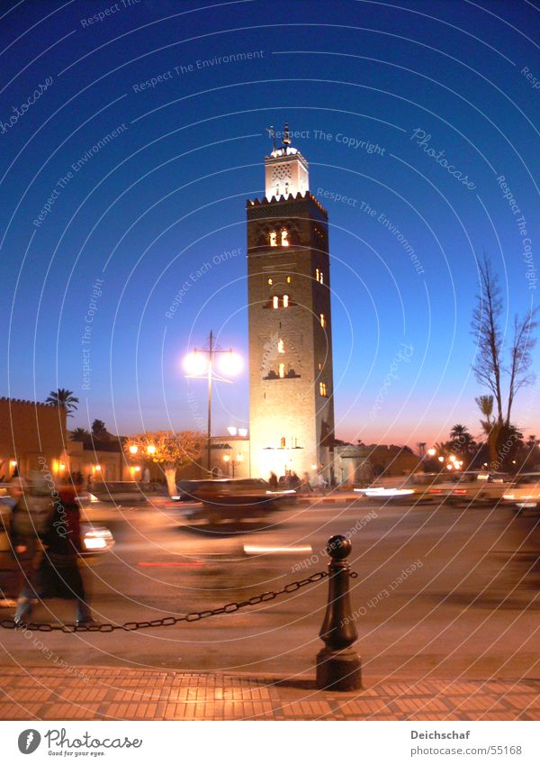 marrakech Night Moody Town Mosque Africa Morocco Vacation & Travel Transport Portrait format Long exposure Sky Evening Human being Movement Life holiday traffic