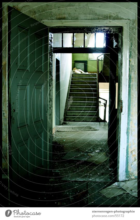 Old Loneliness Dirty Empty Stairs Broken Derelict Decline Staircase (Hallway) Dust Devastated