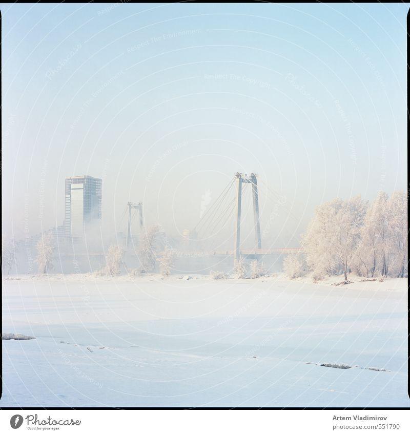 frost#1 Blue City White Colour Landscape Winter Cold Snow Bright Ice Park Fog Bridge Frost Harbour River bank