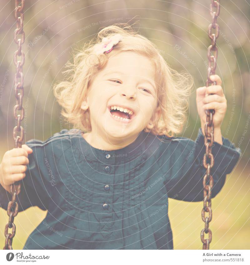 making fun things happen Human being Feminine Child Girl Infancy Life 1 3 - 8 years Laughter Joy Friendliness To swing Playground Beautiful Cute Serene