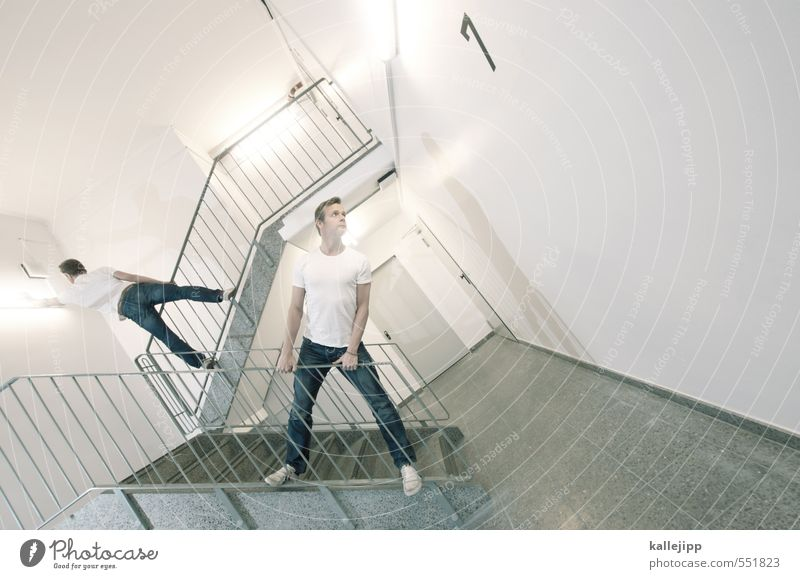 Human being Man Adults Life Body Masculine Stairs Crazy Posture Tilt To hold on Concentrate Staircase (Hallway) Banister Opinion Cigarette