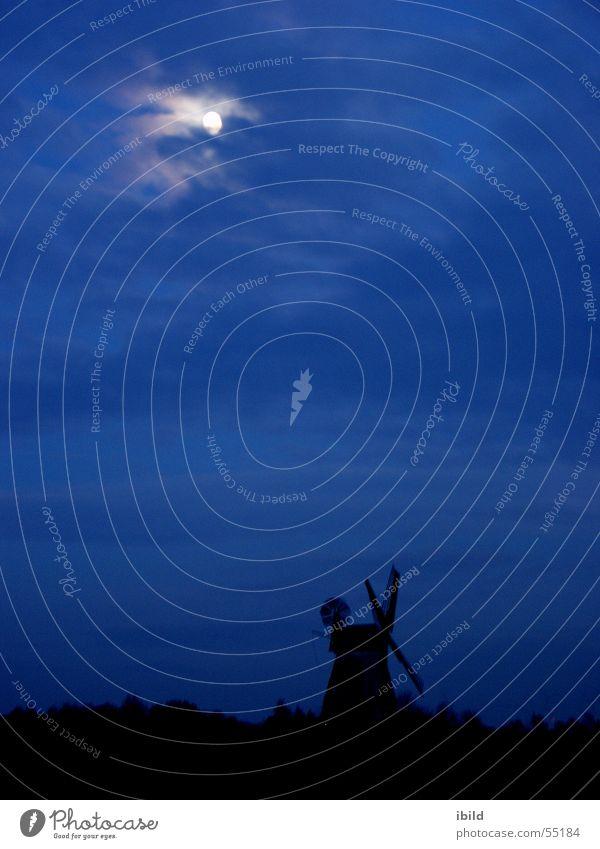 mill night Windmill Night Moonlight Black Monument Mill Blue Sky