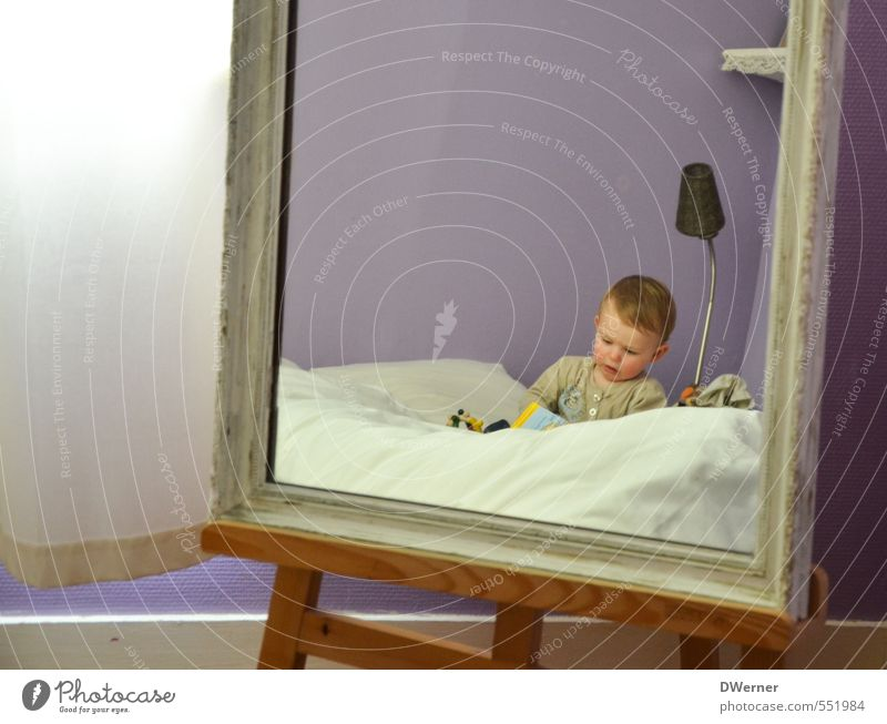mirror image Joy Happy Beautiful Healthy Well-being Leisure and hobbies Living or residing Flat (apartment) Bed Mirror Bedroom Human being Child Toddler 1