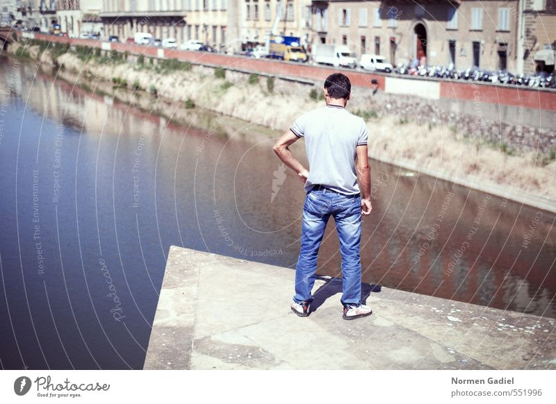 deliberation Masculine Man Adults 1 Human being 18 - 30 years Youth (Young adults) Water River Bridge Stand Self Control Judicious Inhibition Fear