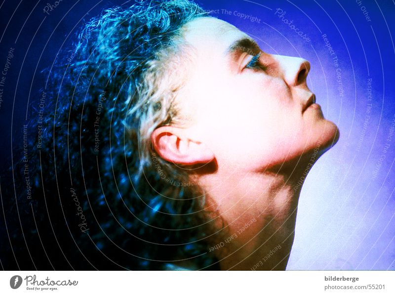 Woman in blue Lighting Listening Senses Blue Hair and hairstyles Ear Neck Eyes Nose