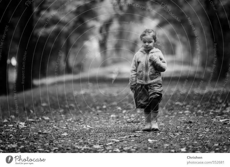 In thought Healthy Human being Feminine Child Toddler Girl Family & Relations Infancy 1 Nature Autumn Forest Lanes & trails Pants Jacket Rubber boots Brunette