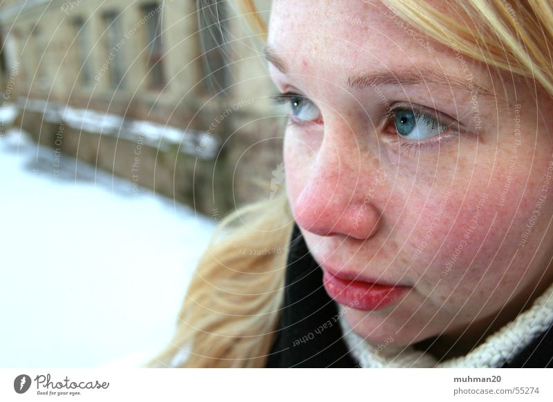 Winter in Ringethal Factory Blonde Grief Cold Girl Hope blue eyes Sadness Face red cheeks