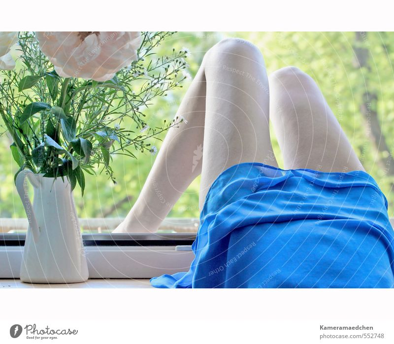 Human being Woman Blue Beautiful Tree Relaxation Flower Adults Window Feminine Think Happy Natural Lie Moody Body