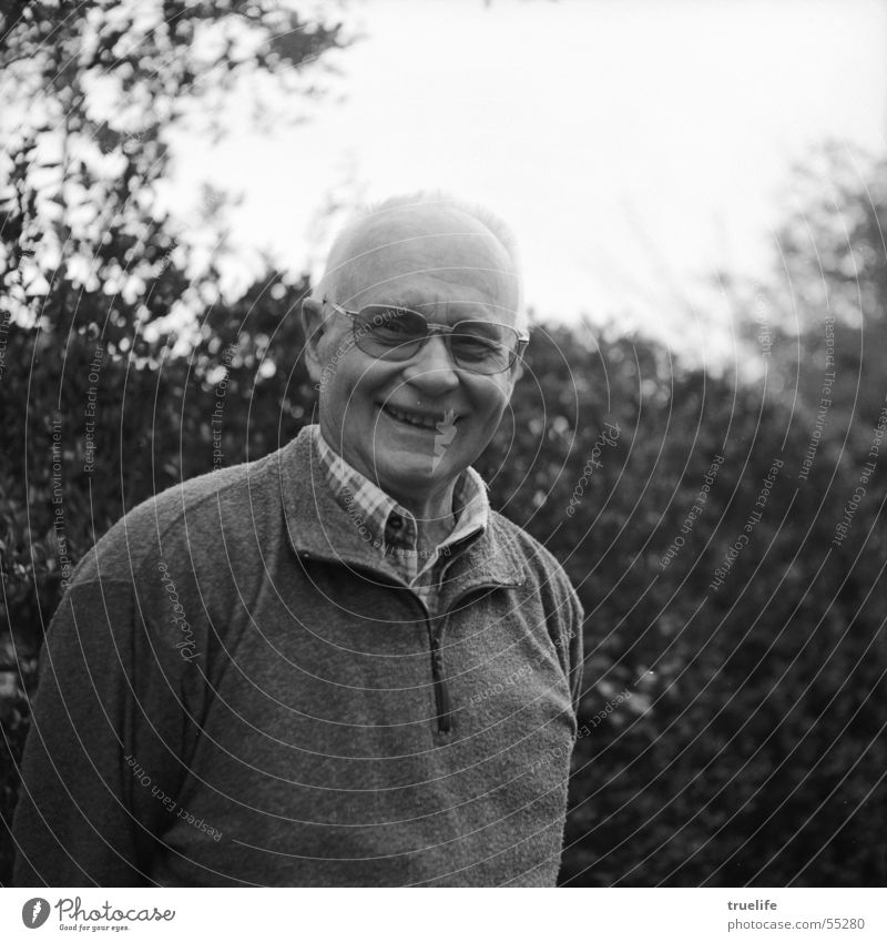 Laughing Hans Man Adults Grandfather Eyes Eyeglasses Old Laughter Happiness Black & white photo Exterior shot Portrait photograph Looking