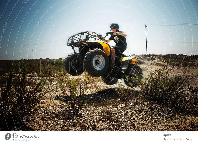 FabulousJump Greece Buggy (Motorbike) Dangerous Yellow Helmet Motorcycle Dust Stunt Stuntman Speed Air Collision Accident Sun Sky Blue Threat Desert Sand Lawn