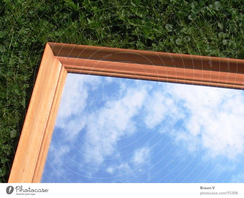 Green Blue Clouds Meadow Grass Brown Mirror Frame