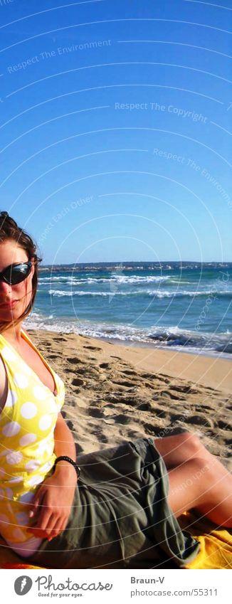 Water Sky Sun Ocean Blue Beach Yellow Sand Waves Point Patch Sunglasses
