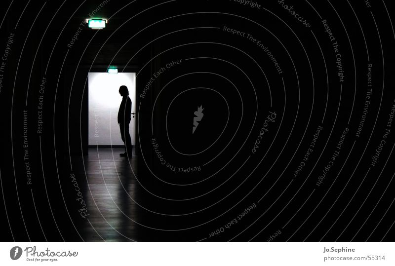 Human being Loneliness Dark Gloomy Hallway Isolated (Position) Exclusion Corridor Patient Eerie Flare Psychiatry Psychological disorder Hospital Bright spot