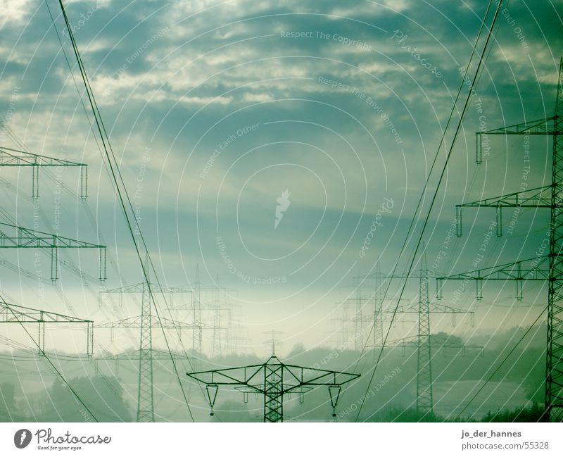 electricity Sky Power Horizon Smog Electricity Clouds Fog Green Tree blue cable cables North Pole power poles forest Transmission lines Electricity pylon