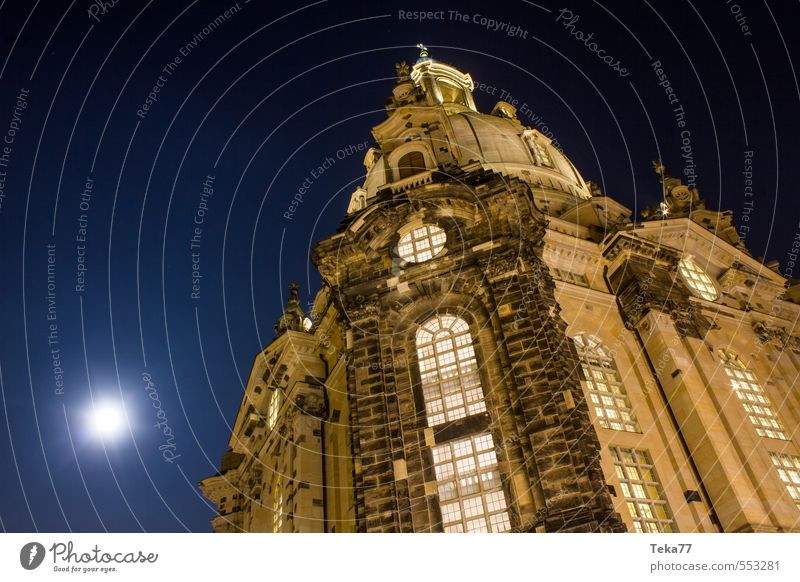 DRESdEN Frauenkirche at night Vacation & Travel Art Town Capital city Downtown Old town Deserted Church Tourist Attraction Landmark Monument Esthetic